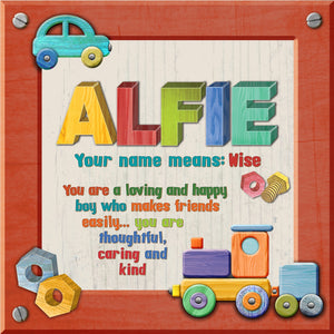 Tidybirds name meanings name definition plaque for kids ALFIE Nickery Nook