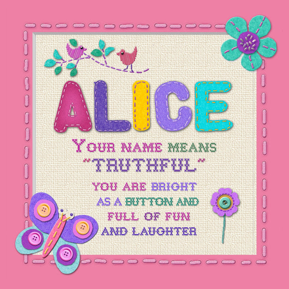 Tidybirds name meanings name definition plaque for kids ALICE  Nickery Nook