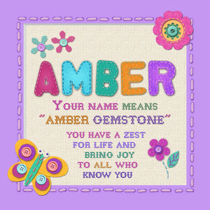 Tidybirds name meanings name definition plaque for kids AMBER Nickery Nook