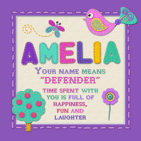 Tidybirds name meanings name definition plaque for kids AMELIA Nickery Nook