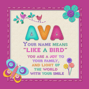 Tidybirds name meanings name definition plaque for kids AVA Nickery Nook