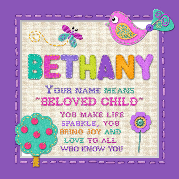 Tidybirds name meanings name definition plaque for kids BETHANY Nickery Nook
