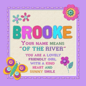 Tidybirds name meanings name definition plaque for kids BROOKE Nickery Nook
