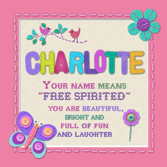 Tidybirds name meanings name definition plaque for kids CHARLOTTE Nickery Nook