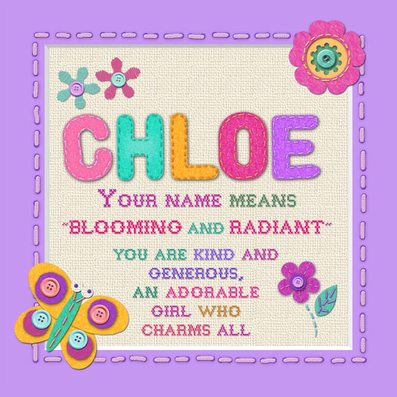 Tidybirds name meanings name definition plaque for kids CHLOE  Nickery Nook