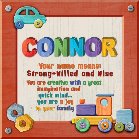 Tidybirds name meanings name definition plaque for kids CONNOR Nickery Nook