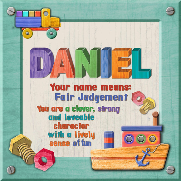 Tidybirds name meanings name definition plaque for kids DANIEL Nickery Nook