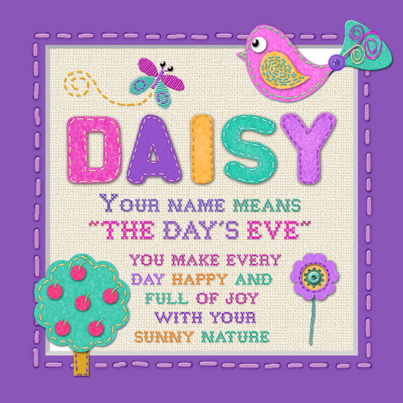 Tidybirds name meanings name definition plaque for kids DAISY Nickery Nook