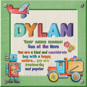 Tidybirds name meanings name definition plaque for kids DYLAN Nickery Nook