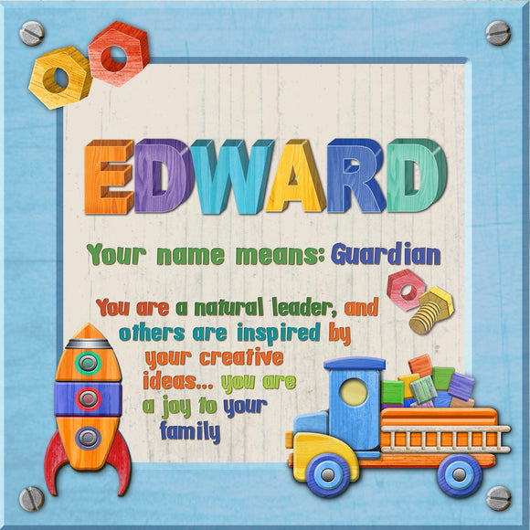 Tidybirds name meanings name definition plaque for kids EDWARD Nickery Nook