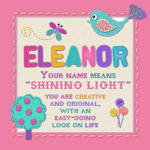 Tidybirds name meanings name definition plaque for kids ELEANOR Nickery Nook