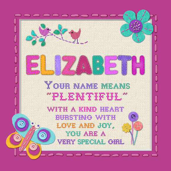 Tidybirds name meanings name definition plaque for kids ELIZABETH Nickery Nook