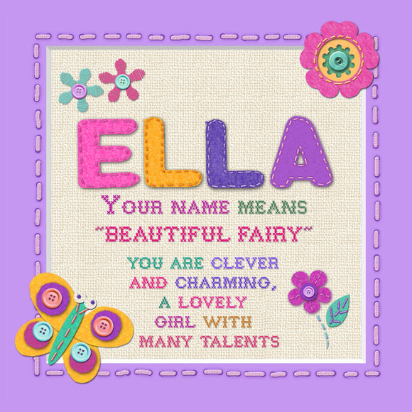 Tidybirds name meanings name definition plaque for kids ELLA Nickery Nook