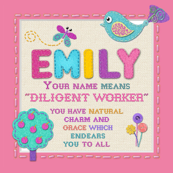 Tidybirds name meanings name definition plaque for kids EMILY  Nickery Nook