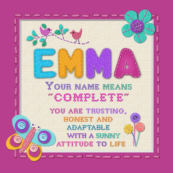 Tidybirds name meanings name definition plaque for kids EMMA  Nickery Nook