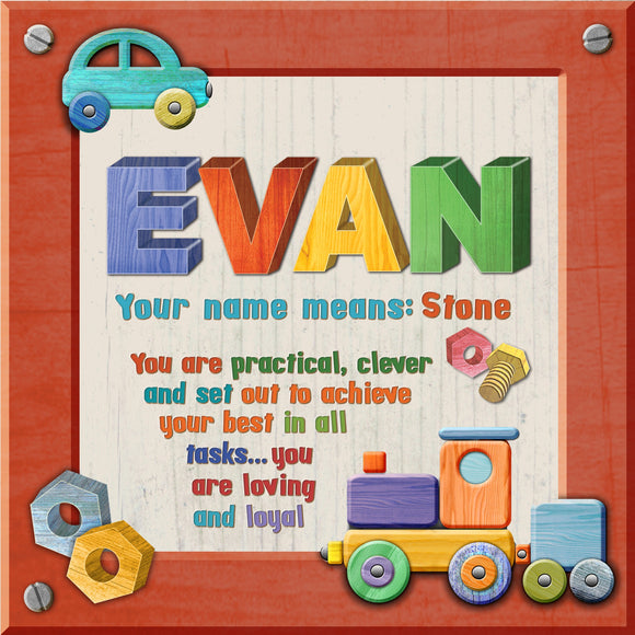 Tidybirds name meanings name definition plaque for kids EVAN Nickery Nook
