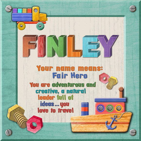 Tidybirds name meanings name definition plaque for kids FINLEY Nickery Nook