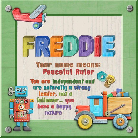 Tidybirds name meanings name definition plaque for kids FREDDIE Nickery Nook