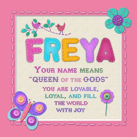 Tidybirds name meanings name definition plaque for kids FREYA Nickery Nook