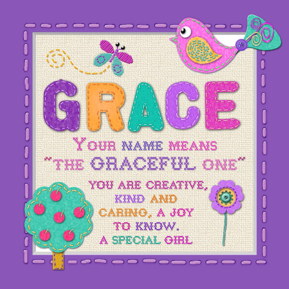 Tidybirds name meanings name definition plaque for kids GRACE Nickery Nook