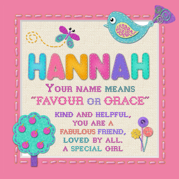 Tidybirds name meanings name definition plaque for kids  HANNAH Nickery Nook