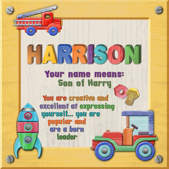 Tidybirds name meanings name definition plaque for kids HARRISON Nickery Nook