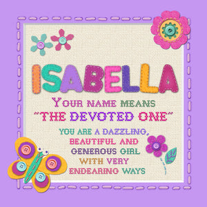 Tidybirds name meanings name definition plaque for kids ISABELLA Nickery Nook
