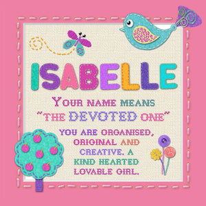 Tidybirds name meanings name definition plaque for kids ISABELLE Nickery Nook