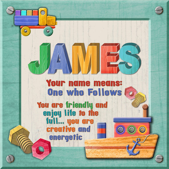 Tidybirds name meanings name definition plaque for kids JAMES Nickery Nook