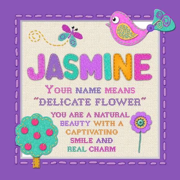 Tidybirds name meanings name definition plaque for kids  JASMINE Nickery Nook