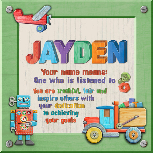 Tidybirds name meanings name definition plaque for kids JAYDEN Nickery Nook