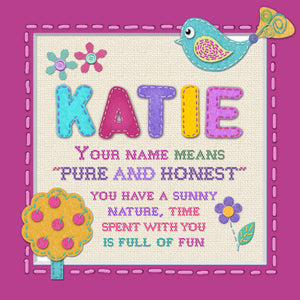 Tidybirds name meanings name definition plaque for kids KATIE Nickery Nook
