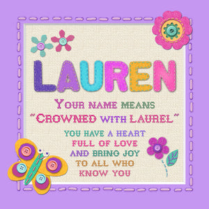 Tidybirds name meanings name definition plaque for kids LAUREN Nickery Nook