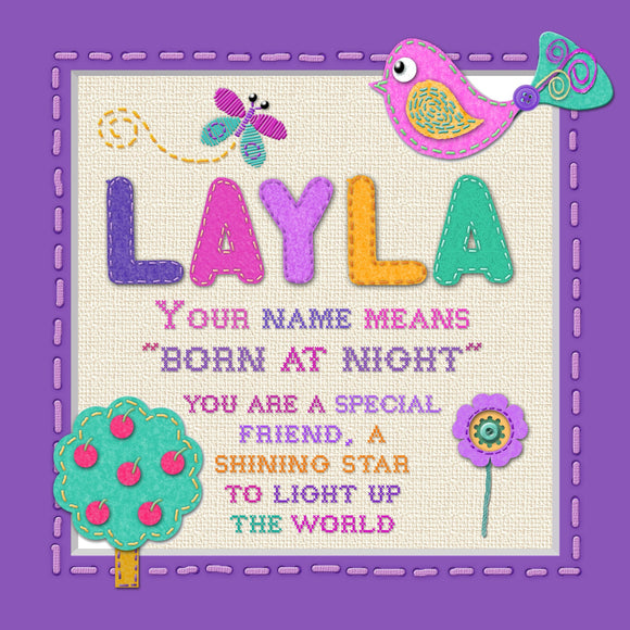 Tidybirds name meanings name definition plaque for kids LAYLA Nickery Nook