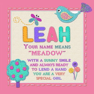 Tidybirds name meanings name definition plaque for kids LEAH Nickery Nook