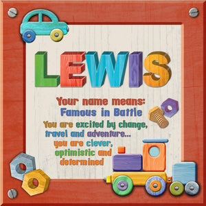 Tidybirds name meanings name definition plaque for kids LEWIS Nickery Nook