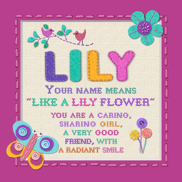 Tidybirds name meanings name definition plaque for kids LILY Nickery Nook