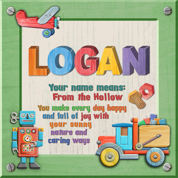 Tidybirds name meanings name definition plaque for kids LOGAN Nickery Nook