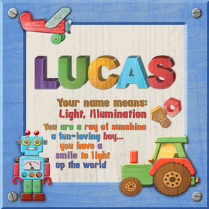 Tidybirds name meanings name definition plaque for kids LUCAS Nickery Nook