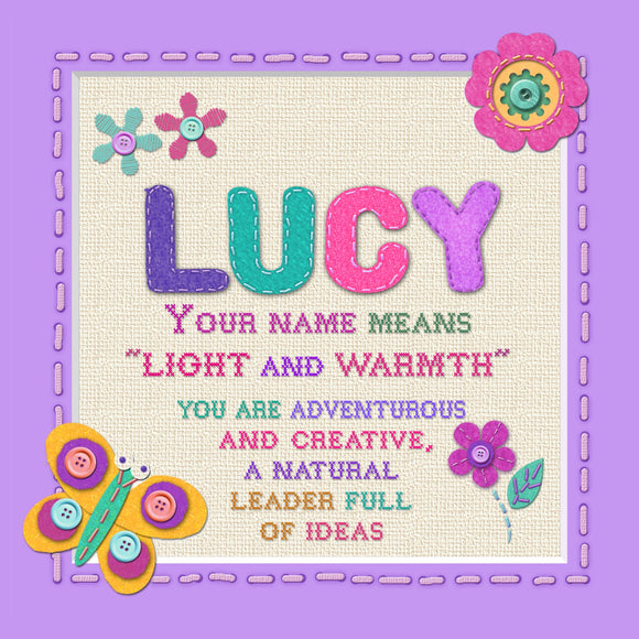 Tidybirds name meanings name definition plaque for kids LUCY Nickery Nook