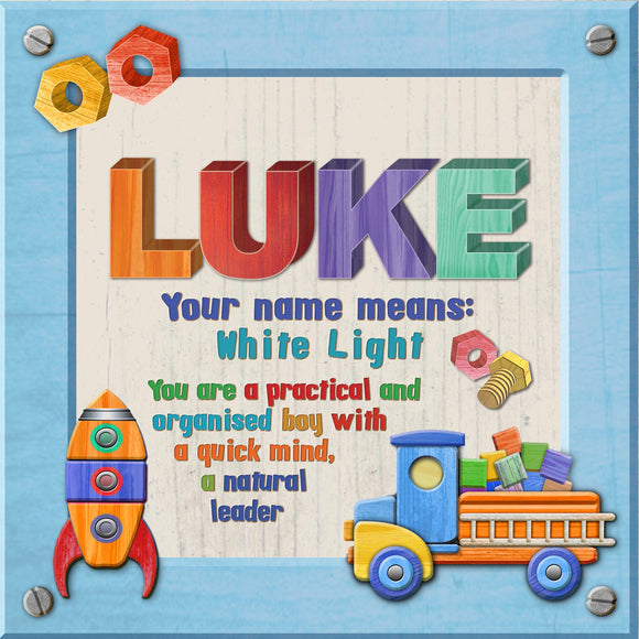 Tidybirds name meanings name definition plaque for kids LUKE Nickery Nook
