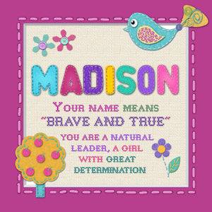 Tidybirds name meanings name definition plaque for kids MADISON Nickery Nook