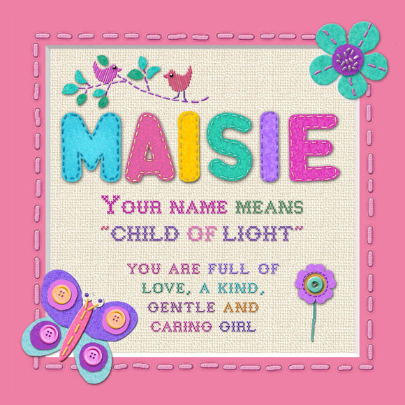 Tidybirds name meanings name definition plaque for kids MAISIE Nickery Nook