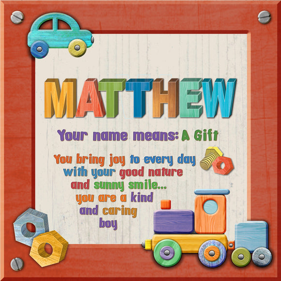 Tidybirds name meanings name definition plaque for kids MATTHEW Nickery Nook