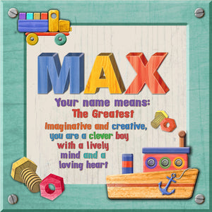 Tidybirds name meanings name definition plaque for kids MAX Nickery Nook