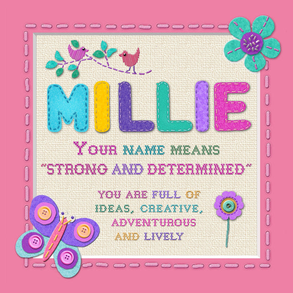 Tidybirds name meanings name definition plaque for kids MILLIE Nickery Nook