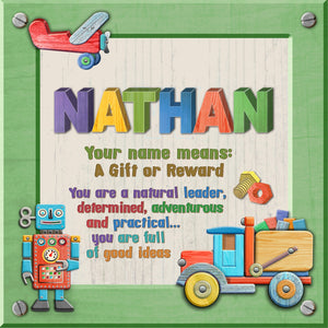 Tidybirds name meanings name definition plaque for kids NATHAN Nickery Nook
