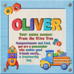Tidybirds name meanings name definition plaque for kids OLIVER Nickery Nook