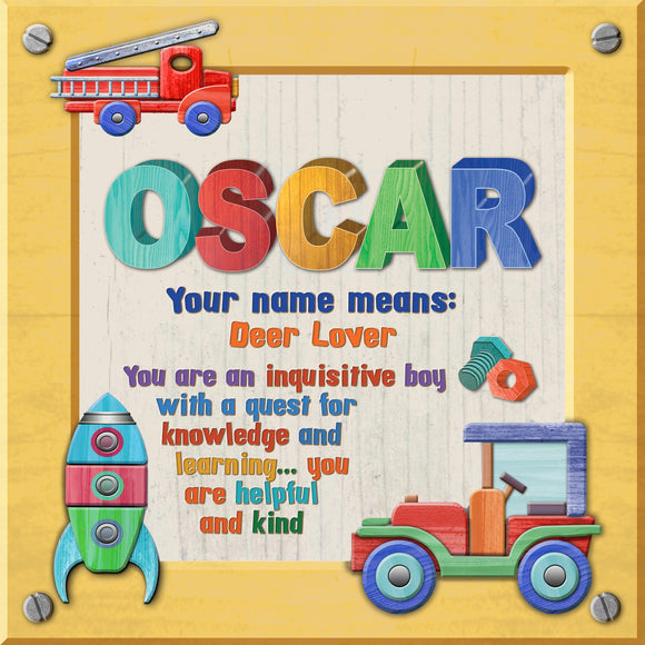 Tidybirds name meanings name definition plaque for kids OSCAR Nickery Nook