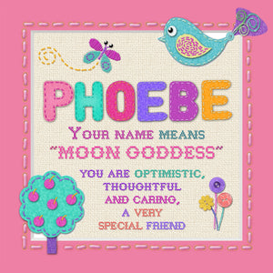 Tidybirds name meanings name definition plaque for kids PHOEBE Nickery Nook